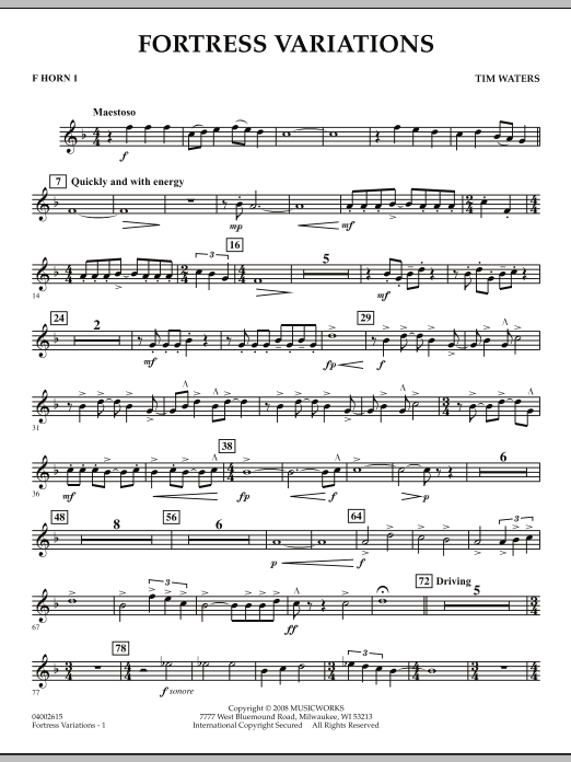 Fortress Variations - F Horn 1 (Concert Band)