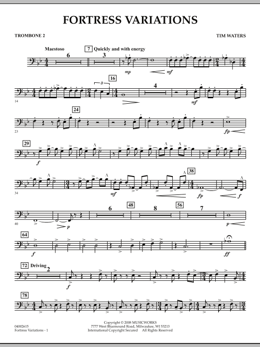 Fortress Variations - Trombone 2 (Concert Band)