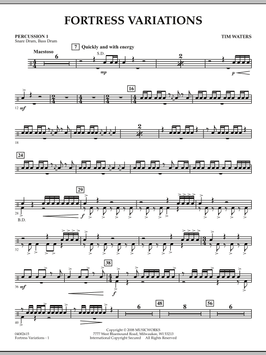 Fortress Variations - Percussion 1 (Concert Band)