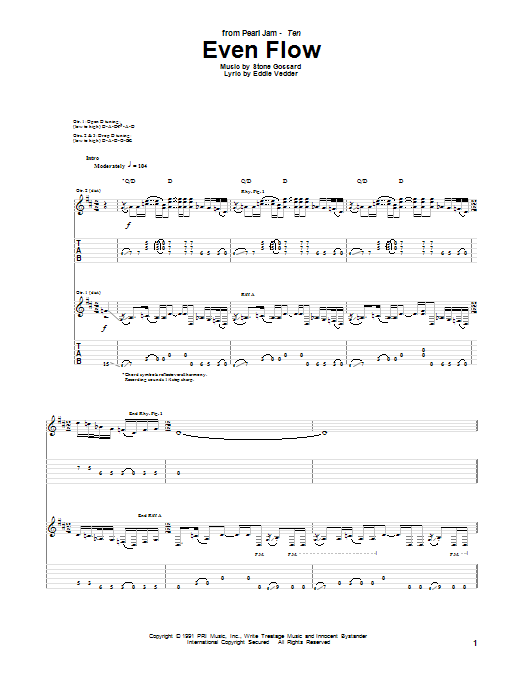 Even Flow Sheet Music