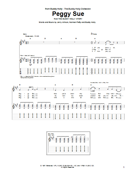 Peggy Sue (Guitar Tab)