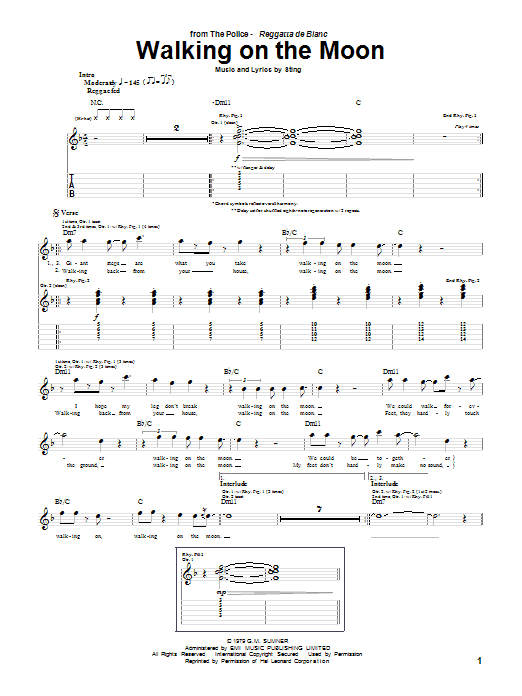 Tablature guitare Walking On The Moon de The Police - Tablature Guitare