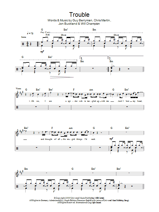 Trouble Drum Tab By By Coldplay Drums 45429