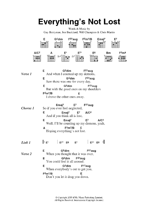 Everythings Not Lost Sheet Music Coldplay Lyrics Chords