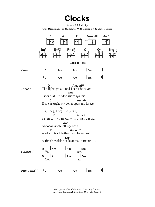 Clocks Sheet Music Coldplay Lyrics Chords