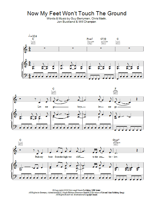 Now My Feet Won't Touch The Ground Sheet Music