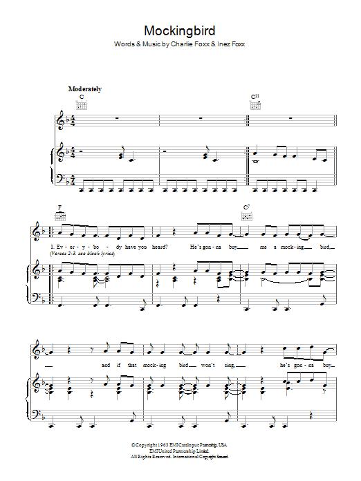 Mockingbird (Piano, Vocal & Guitar)