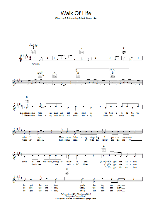 Walk Of Life Sheet Music | Dire Straits | Melody Line, Lyrics & Chords