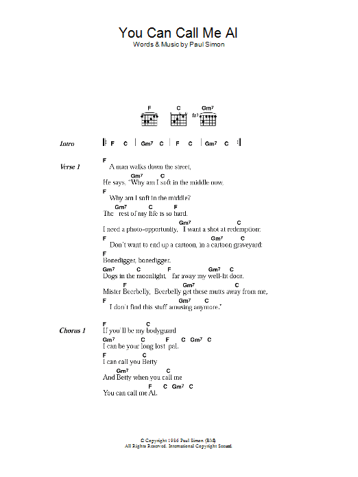 You Can Call Me Al by Paul Simon - Guitar Chords/Lyrics - Guitar ...