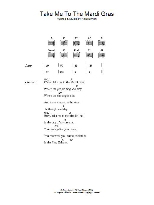 Take Me To The Mardi Gras (Guitar Chords/Lyrics)