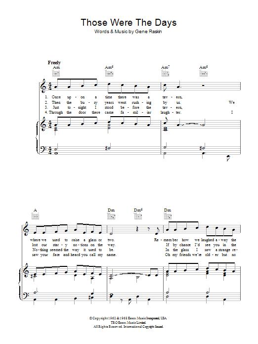 Those Were The Days (Piano, Vocal & Guitar)