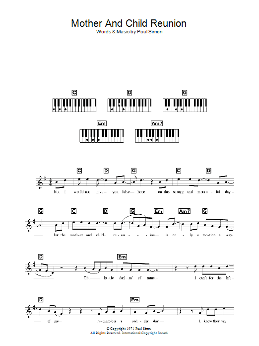 Mother And Child Reunion Sheet Music