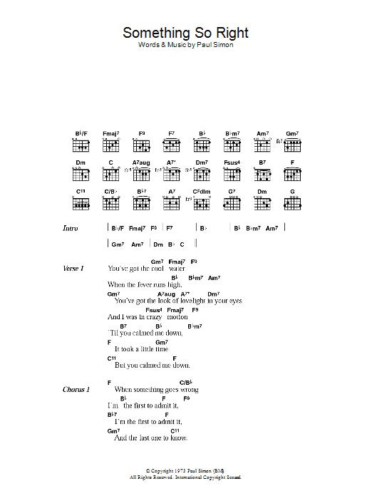 Something So Right by Paul Simon - Guitar Chords/Lyrics - Guitar ...