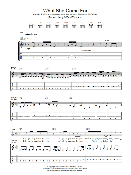 What She Came For (Guitar Tab)