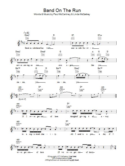 Band On The Run Sheet Music