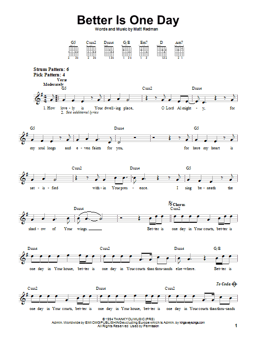 Better Is One Day | Sheet Music Direct