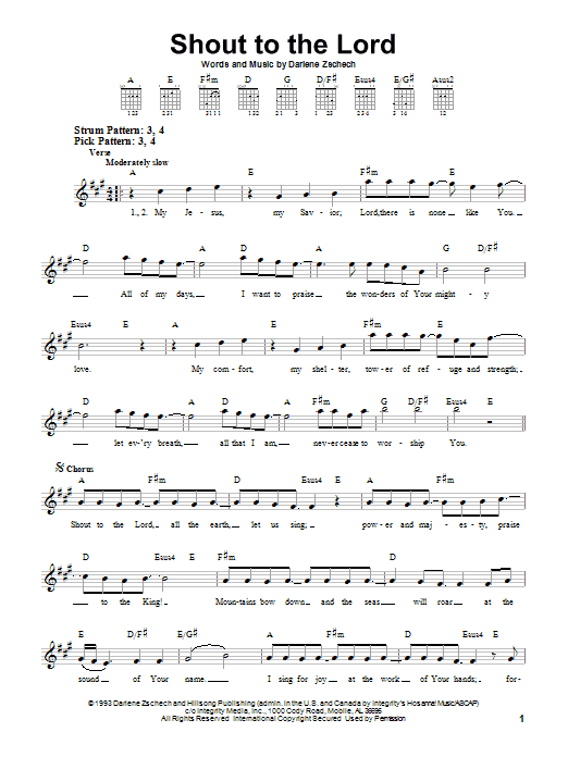 Shout To The Lord (Easy Guitar)