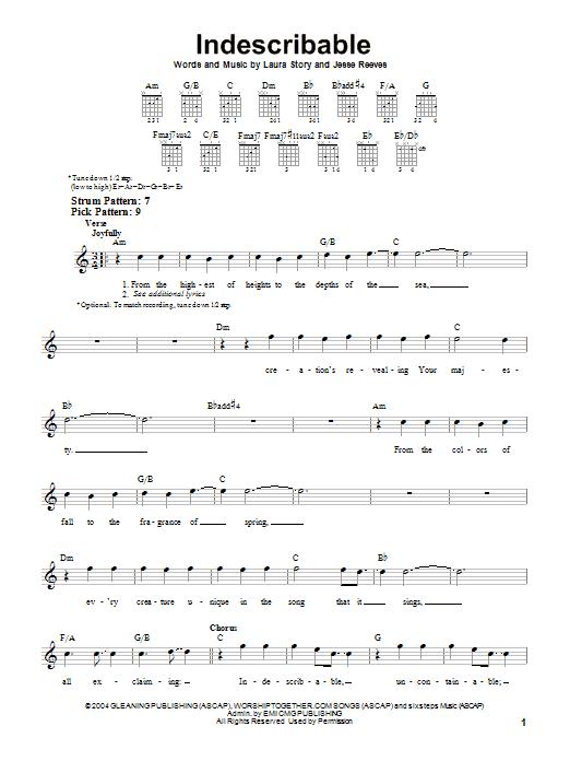 Indescribable (Easy Guitar)