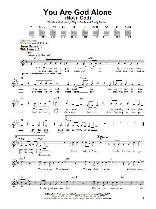 You Are God Alone (Not A God) (Easy Guitar)