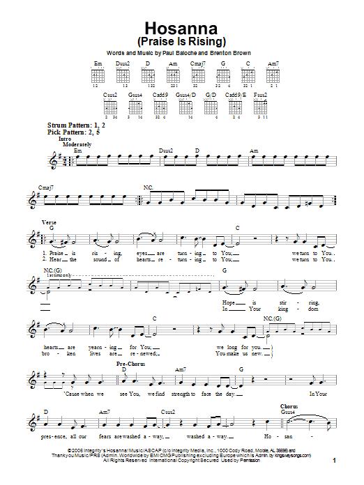 Hosanna (Praise Is Rising) (Easy Guitar)
