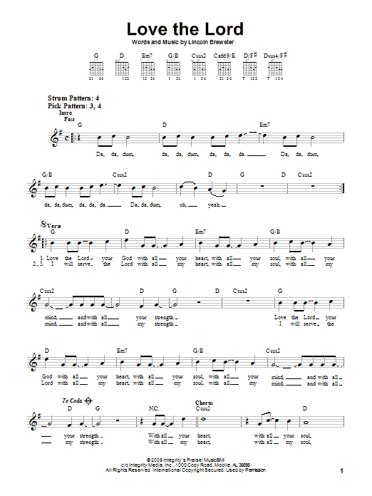 Love The Lord (Easy Guitar)