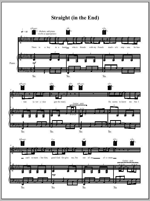 Straight (In The End) Sheet Music