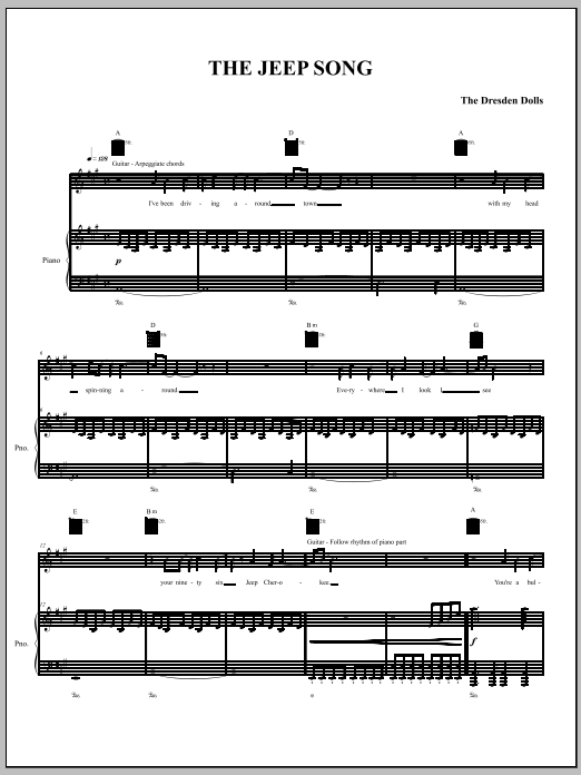 The Jeep Song Sheet Music
