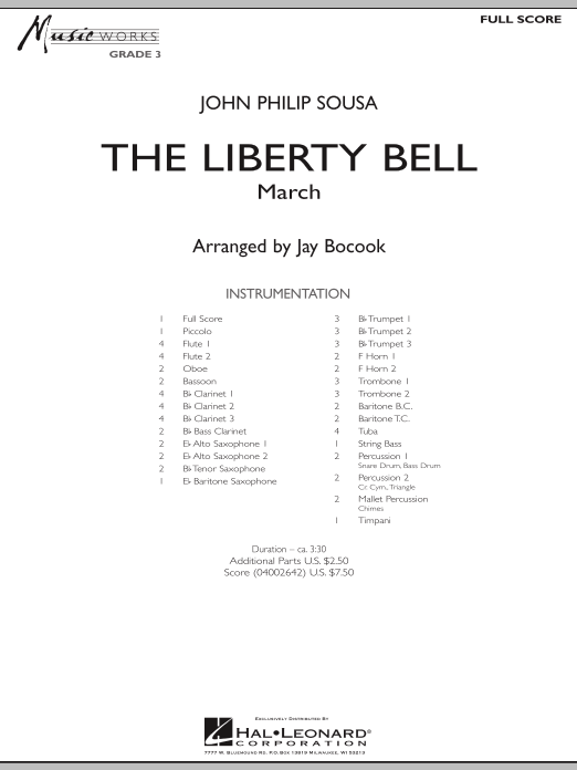 The Liberty Bell (COMPLETE) sheet music for concert band by Jay Bocook and John Philip Sousa. Score Image Preview.