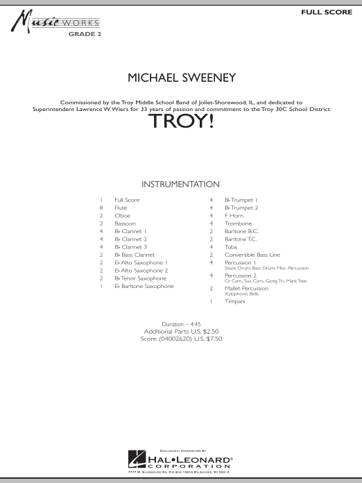 Troy! (COMPLETE) sheet music for concert band by Michael Sweeney. Score Image Preview.