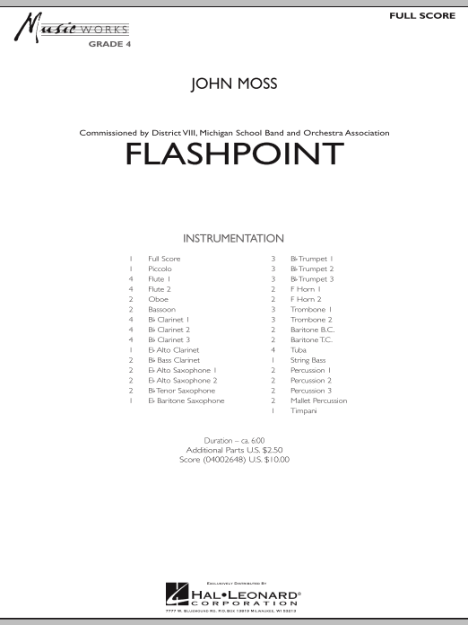 Flashpoint (COMPLETE) sheet music for concert band by John Moss. Score Image Preview.