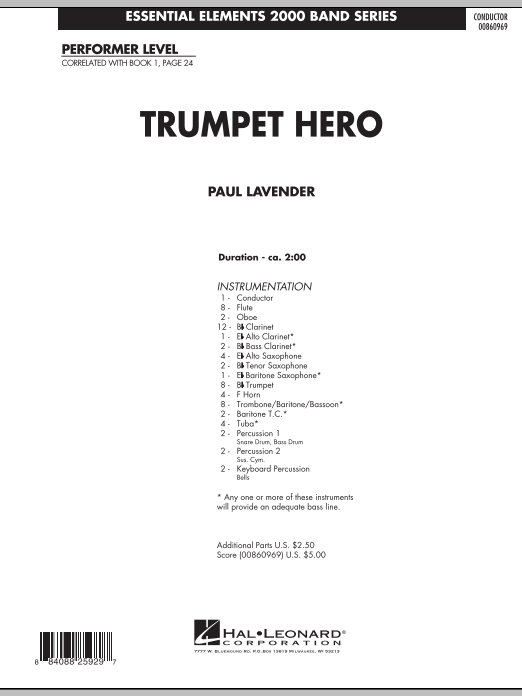 Trumpet Hero (COMPLETE) sheet music for concert band by Paul Lavender. Score Image Preview.