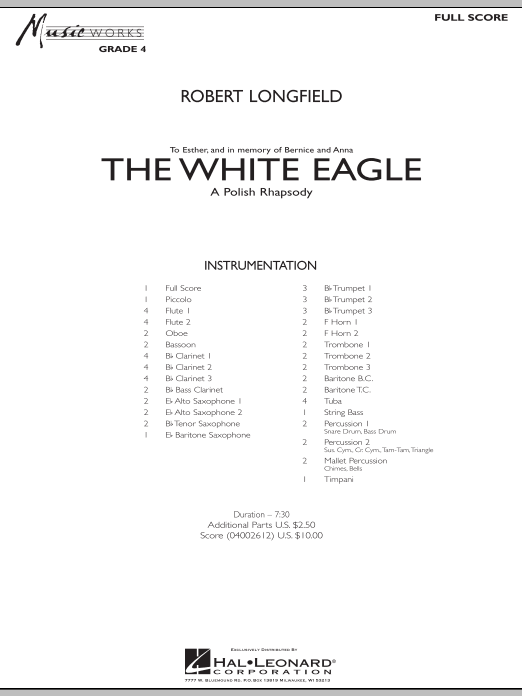 The White Eagle (A Polish Rhapsody) (COMPLETE) sheet music for concert band by Robert Longfield. Score Image Preview.