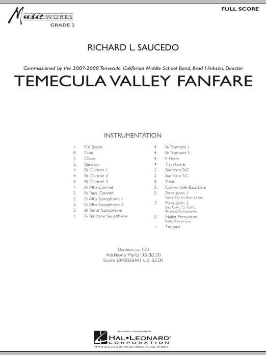 Temecula Valley Fanfare (COMPLETE) sheet music for concert band by Richard L. Saucedo. Score Image Preview.