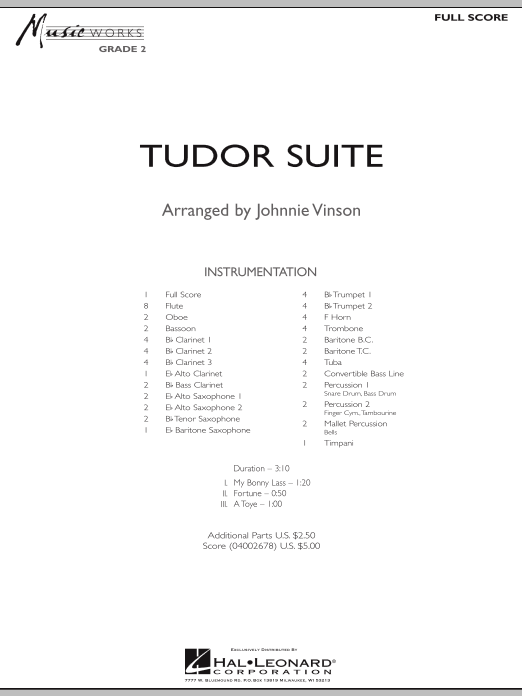 Tudor Suite (COMPLETE) sheet music for concert band by Johnnie Vinson. Score Image Preview.