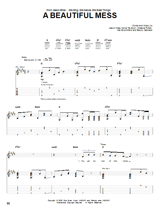 Tablature guitare A Beautiful Mess de Jason Mraz - Tablature Guitare