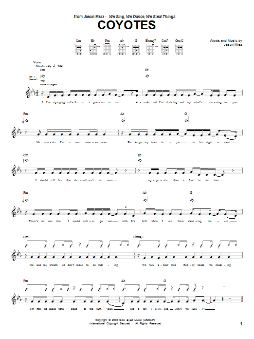 Tablature guitare Coyotes de Jason Mraz - Tablature Guitare