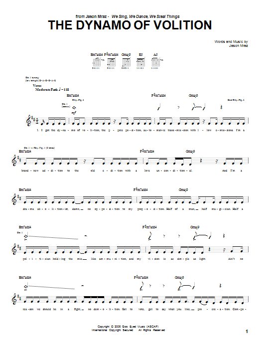 The Dynamo Of Volition Sheet Music