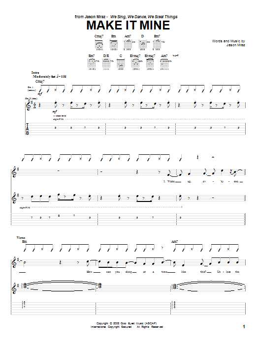 Tablature guitare Make It Mine de Jason Mraz - Tablature Guitare