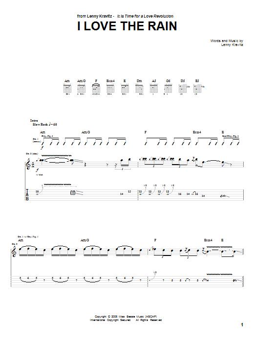 I Love The Rain (Guitar Tab)