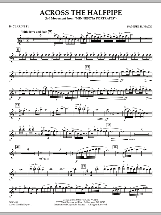 "Across the Halfpipe (Mvt. 3 of ""Minnesota  Portraits"") - Bb Clarinet 1 (Concert Band)"