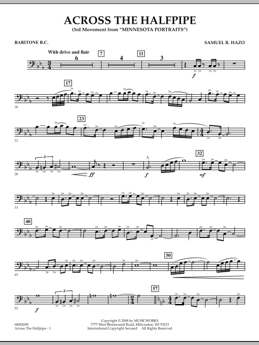 "Across the Halfpipe (Mvt. 3 of ""Minnesota  Portraits"") - Baritone B.C. (Concert Band)"