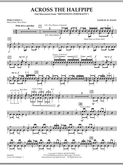 "Across the Halfpipe (Mvt. 3 of ""Minnesota  Portraits"") - Percussion 1 (Concert Band)"