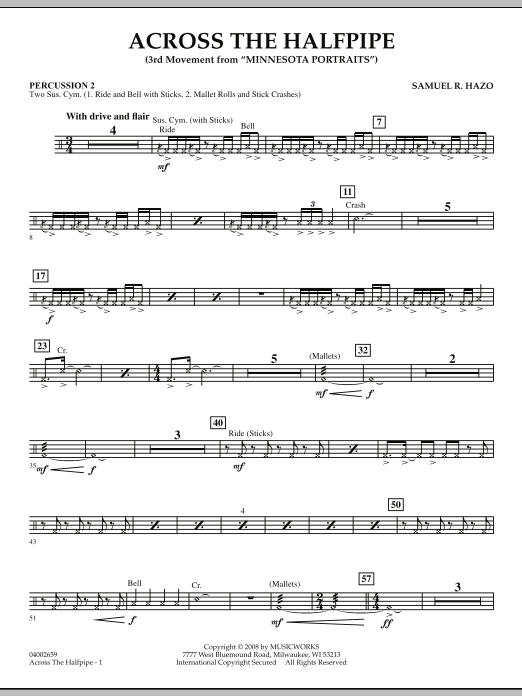 "Across the Halfpipe (Mvt. 3 of ""Minnesota  Portraits"") - Percussion 2 (Concert Band)"