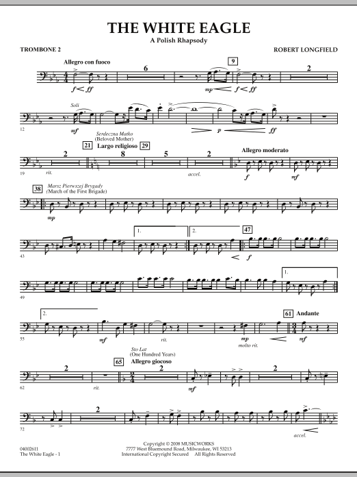 The White Eagle (A Polish Rhapsody) - Trombone 2 (Concert Band)