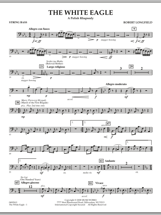 The White Eagle (A Polish Rhapsody) - String Bass (Concert Band)