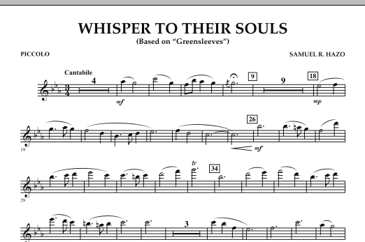 """Whisper to Their Souls (based on """"Greensleeves"""") - Piccolo (Concert Band)"""