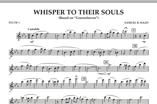 """Whisper to Their Souls (based on """"Greensleeves"""") - Flute 1 (Concert Band)"""