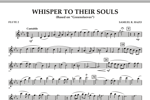 """Whisper to Their Souls (based on """"Greensleeves"""") - Flute 2 (Concert Band)"""