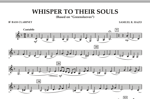 """Whisper to Their Souls (based on """"Greensleeves"""") - Bb Bass Clarinet (Concert Band)"""