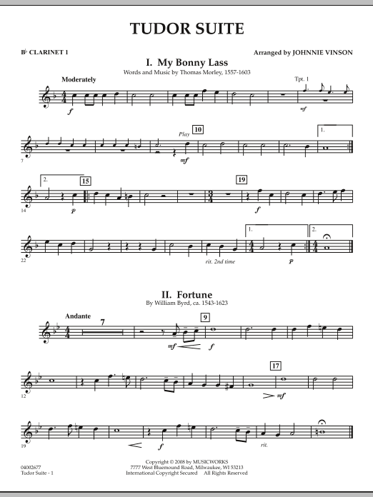 Tudor Suite - Bb Clarinet 1 (Concert Band)